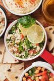 Tabbouleh, middle east salad with bulgur pasta Stock Photos