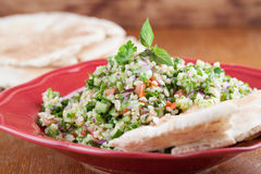 Tabbouleh with pita bread Royalty Free Stock Image