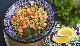 Tabbouleh salad. Middle- eastern bulgur wheat salad royalty free stock image