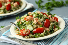 Tabbouleh salad with quinoa and salmon Stock Images