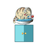 The tabby cat drinks water sitting on the sink royalty free illustration