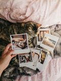Tabby cat lying down in bed and several retro photos. Tabby cat lying down comfortably in bed and several retro photos royalty free stock image