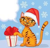 Tabby cat wishes Merry Christmas Stock Photo