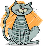 Tabby gray cat cartoon illustration Royalty Free Stock Photo