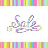 Tabby Handmade Inscription Sale colorida para su tienda Imagen de archivo