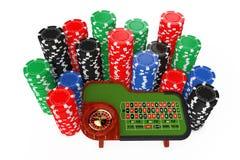 Tabela clássica da roleta do casino com as microplaquetas coloridas do casino do pôquer ilustração stock