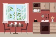 Tabela com cadeiras perto de uma janela aberta Fragmento do interior da cozinha em uma cor marrom ilustração do vetor