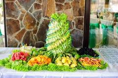 Tabela com frutos frescos Foto de Stock Royalty Free