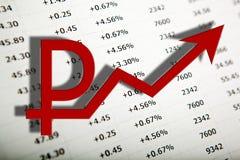 A tabela com números imprimiu no símbolo do papel e do rublo Imagens de Stock