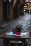 A tabela com o potenciômetro de flor nele do restaurante da rua na Bolonha foto de stock