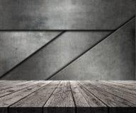tabela 3D de madeira que olha para fora para abstrair a parede do metal ilustração stock