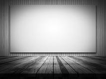 tabela 3D de madeira que olha para fora a uma lona vazia em uma parede de madeira ilustração do vetor