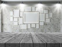 tabela 3D de madeira que olha para fora a uma parede de molduras para retrato vazias ilustração do vetor