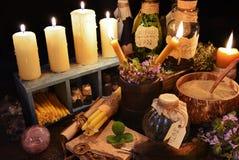 Tabela da bruxa do ot do tema da medicina alternativa Foto de Stock Royalty Free