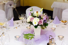 Tabela da decoração do casamento Fotos de Stock Royalty Free