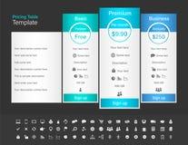 Tabela da fixação do preço com 3 planos e uma recomendada Bl Imagens de Stock Royalty Free
