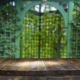 Tabela da placa de madeira do vintage na frente da paisagem sonhadora e abstrata do parque Foto de Stock Royalty Free