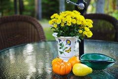 Tabela da queda com gourds e flores imagem de stock
