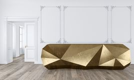 Tabela da recepção do ouro no interior branco clássico da cor com moldes e o assoalho de madeira ilustração stock
