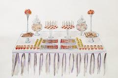 Tabela da sobremesa para um banquete de casamento Desenho da mão Pictu da aquarela Imagem de Stock