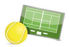 Tabela da tática do campo do tênis, bolas de tênis Fotografia de Stock