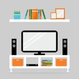 Tabela da tevê com aparelho de televisão e altifalante Foto de Stock