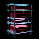 Tabela de alta fidelidade com equipamento (transparentes azuis do raio X 3D) Foto de Stock