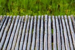 tabela de bambu para montagens da exposição do produto fundo de bambu do teste padrão da textura, grama verde borrada fotos de stock