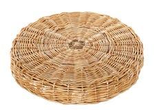 Tabela de círculo de vime Fotografia de Stock Royalty Free