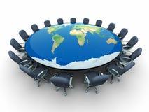 Tabela de conferência com mapa de mundo Imagens de Stock Royalty Free