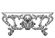 Tabela de console barroco excelente gravada Estrutura ornamented intrincada rica luxuosa francesa do vetor Decoração real vitoria Imagem de Stock