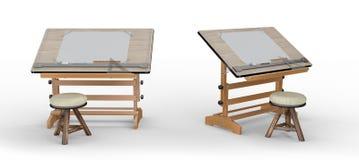 Tabela de desenho de madeira nova com ferramentas e tamborete, trajeto de grampeamento mim Imagens de Stock