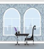 Tabela de escrita bonito em Gray Damask Room With Palladian Windows ilustração do vetor