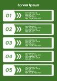 Tabela de Infographic ou projeto da bandeira da Web com etapas numeradas ilustração do vetor