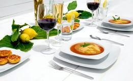 Tabela de jantar de madeira branca Foto de Stock