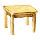 Tabela de jantar de madeira da aquarela imagens de stock