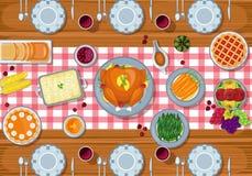 Tabela de jantar do cartão da ação de graças no projeto liso do estilo imagens de stock