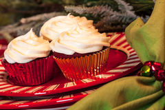 Tabela de jantar do Natal com sobremesa Fotografia de Stock Royalty Free