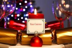 Tabela de jantar do Natal da luz de vela Fotografia de Stock