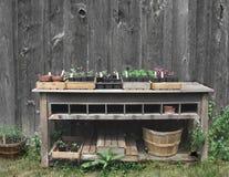 Tabela de jardinagem exterior com plantas. Foto de Stock Royalty Free