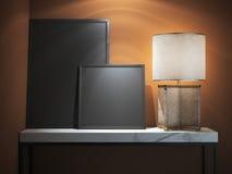 Tabela de mármore com dois quadros vazios rendição 3d Fotografia de Stock Royalty Free