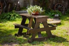 Tabela de madeira com o potenciômetro de flor no jardim fotos de stock