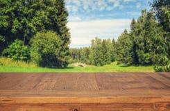 a tabela de madeira em árvores de floresta verdes dianteiras ajardina o fundo para a exposição e a apresentação do produto Imagem de Stock Royalty Free