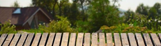 A tabela de madeira em um fundo do jardim floresce Fotos de Stock