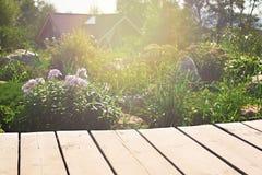 A tabela de madeira em um fundo do jardim floresce Foto de Stock