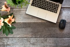 Tabela de madeira fêmea da mesa do escritório com portátil e flor Vista superior com espaço da cópia Imagens de Stock Royalty Free