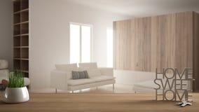 A tabela de madeira, a mesa ou a prateleira com a planta em pasta da grama, as chaves da casa e 3D rotulam a casa doce home, sobr ilustração do vetor