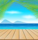 Tabela de madeira na praia Fotos de Stock