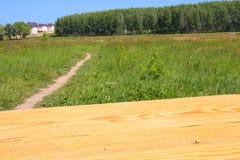 Tabela de madeira no fundo da natureza Fotos de Stock