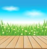 Tabela de madeira no prado da mola Imagens de Stock Royalty Free
